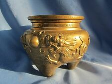 Antique/Vintage Chinese Solid Brass Dragon Relief Incense Burner 1.3kg