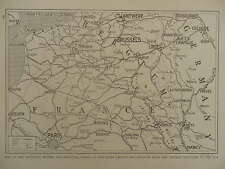 1914 1915 WAR MAP OF RAILWAYS RIVERS CANALS IN NORTHERN FRANCE & BELGIUM WWI WW1