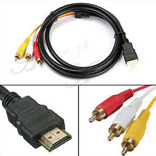 5FT 1.5m HDMI Male to 3RCA Video Audio Converter Component AV Adapter Cable HDTV