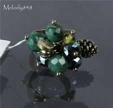 BOHM Vintage Gold Green Crystal Cluster RING WILD FOREST Fir Pine-cone BNWT