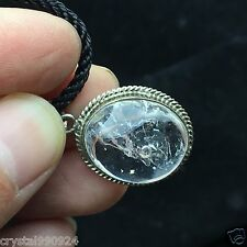 VISIBLE MOVING Bubble Enhydro CLEAR Natural Quartz Crystal Silver Pendant #1928