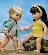 """KNITTING PATTERN TO MAKE 14"""" VINTAGE DOLLS CLOTHES  SWIMSUIT BEACH WRAP DRESS"""