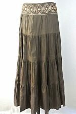 Brown long skirt boho hippie crinkled embroidered Brown cotton long S-6-8