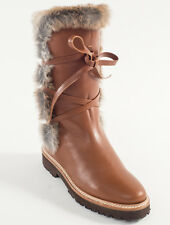 New Steiger Paris Brown Leather Boots With Fur Size 38 US 8