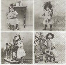 2 Serviettes en papier Vignettes Fillettes Sagen Vintage - Paper Napkins Girls