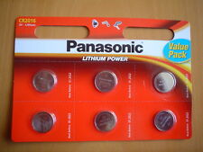 PANASONIC CR2016 LITHIUM BATTERIES, 6 PACK.