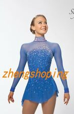 New Blue Ice Figure Skating Dress/Competition Skirted Baton Twirling Costume