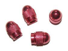 4 VENTILKAPPEN Metall ALUMINIUM Alu rot metallic für Räder Auto PKW KFZ Krad