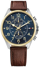 *BRAND NEW* Tommy Hilfiger Men's Blue Chronograph Dial Leather Watch 1791275