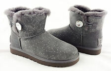 UGG Bailey Button Bling Mini Constellation Grey Fur Boots Size 6 *NEW IN BOX*