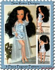 "Pegnoir Chemise Panty 3 Piece PATTERN fits 19""-20"" Fashion Dolls Dollikin Cissy"