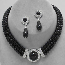 Beautiful Fashion Bridal Prom SILVER & BLACK 3 Strand Pearl Necklace/ Earrings