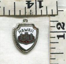 VINTAGE STERLING BRACELET CHARM~ENAMELED TRAVEL SHIELD~HAWAII~$14.99!!!!