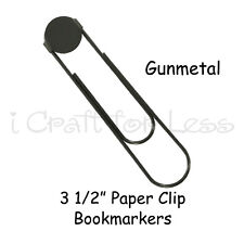 "100 GUNMETAL Large Paper Clips Paperclips (3 1/2"") Bookmarks w/ Glue Pads"