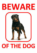 ROTTWEILER - BEWARE OF THE DOG  - LAMINATED RED SIGN FUN