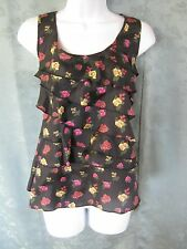 Forever 21 Top Size Large 100% Silk Floral Print Ruffled Asymmetric Sleeveless