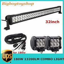 "32in 180W LED Light Bar Spot Flood Combo+Pair 18W CREE 4"" FLOOD Jeep +Wiring KIT"