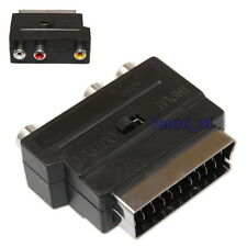 Scart to 3 RCA Phono Adapter SVHS S-Video Adaptor In/Out Switch Gold Cinch 3x