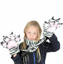 Girls Childrens Kids Snow Tiger Scarf With Tiger Claw Hand Pockets - Great Gift