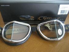 TOP QUAILITY CLIMAX GOGGLES-LEATHER+CHROME BMW HARLEY TRIUMPH HONDA YAMAHA BSA