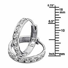 14K White Gold 3mm Thickness 8 Stone  Channel Set Medium Polished Hoop Huggies