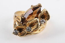 18K G.E. FLOWER DESIGNED RING W/ BROWN & CLEAR FACETED CRYSTALS FINE 0257