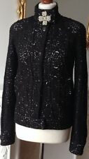 Authentic CHANEL 09P Black Camellia Cut Mesh Jacket FR38 UK10 Made In Italy