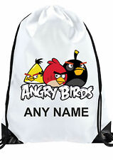 Personalised BOY GIRL ANGRY BIRDS Gym BAG  Swimming PE Dance School IDEAL GIFT