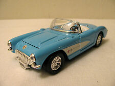 Convertible 1957 Corvette Baby Blue Diecast Model Car Doors Hood Open SS 5709