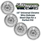 """15"""" Universal Fit Chrome Wire Hubcaps / Wheel Covers # 1215 BRAND NEW SET 4"""