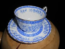 "Vintage Gladstone ""Blue Rhapsody"" English Bone China Tea Cup and Saucer"