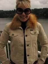 IZOD Khaki Denim RED FOX FUR Collar Jacket Coat S M #852A