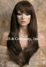 Human Hair Blend Wig Long Straight Face Frame Light Brown Heat safe WTO 6