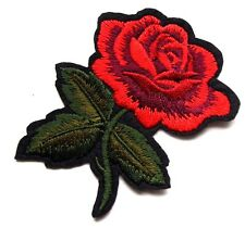 Rose Wild Flower Leaf Embroidered Iron Sew On Patch Peace Hippie Love