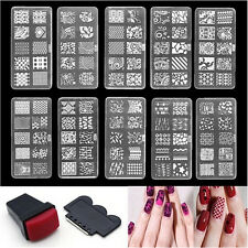 Nail Art Stamp Stencil Stamping Template Plate Set Tool Stamper Design Kit WH