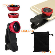 3in1 Fish Eye+ Wide Angle + Macro Camera Clip-on Lens Kits for iPhone 5 5S 6 CA