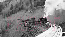 Rio Grande Southern (RGS) Engine 461 on the Butterfly Trestle in 1952 - 8x10