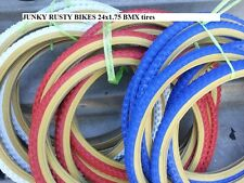 "Two Tires 24x1.75 BMX 24"" inch Red White Blue BLACK GUM WALL Comp 3 design"