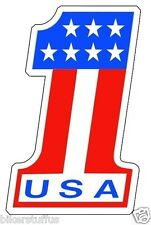 USA NUMBER # 1 AMERICAN FLAG STICKER RACING BUMPER STICKER