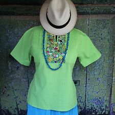 Lime Green Cotton Tunic Hand Embroidered Silk Flowers Mexico Hippie Boho Frida