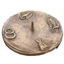 Taufkerzenleuchter 4 Symbole Bronze braun 15 cm baptism candle holder