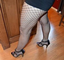 """2 pair Shirley of Hollywood Fishnet Fence Net Pantyhose Black OS HOT to 5'-10"""""""
