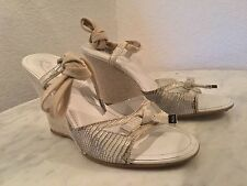 Tod's Snakeskin Silver Leather Espadrille Ankle Lace Wedges Women's Sz 7 M