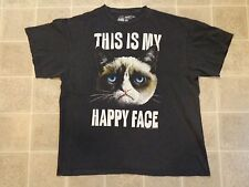 Used GRUMPY CAT This Is My Happy Face T-SHIRT Mens XL Distressed Worn-In Funny