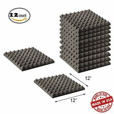 12 PACK Pyramid Acoustic Wedge Studio Soundproofing Foam Wall Tiles 12 x 12 x 2