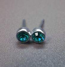 NUOVO in acciaio inox Orecchini a bottone 3mm SWAROVSKI PIETRE BLUE ZIRCON/Blu-Verde Orecchini