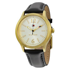 Tommy Hilfiger Silver Dial Black Leather Mens Watch 1781554