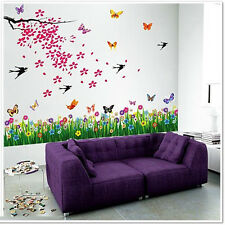 Wall Stickers Mural HomeDecal Art Flowers Tree Butterflies Nursery Kids Boy Girl