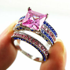 Size 8 silver Platinum Plated Princess Cut Pink Topaz Engagement Ring Set 2-in-1