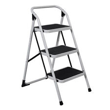 New HD 3 Step Ladder Platform Lightweight Folding Stool 330 LB Cap. Space Saving